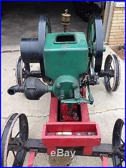 4 1/2 Hp Simplicity Hit Miss Gas Engine Steam Magneto Oiler Steel Wheel Cart