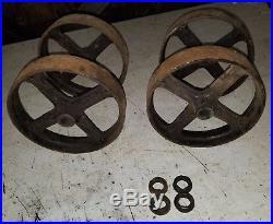 4 7 Cast Wheels. Hit Miss Gas Engine Steam Industrial Cart. NICE! 4 wheels