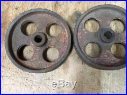 Antique CAST IRON WHEELS GAS ENGINE CART TRUCKS HIT MISS ENGINE nice set of 4
