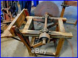 Antique Cordwood Saw with New Way Aircooled Hit or Miss Engine that turns