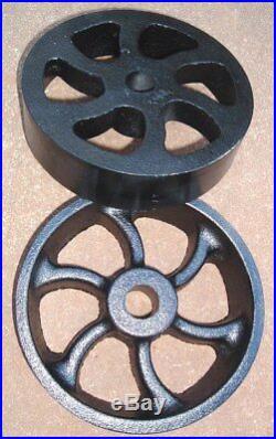 Antique Hit & Miss Gas Engine Cart Parts Set Cast Iron Six Spiral Spoke Wheels