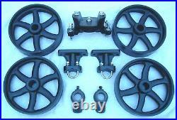 Antique Hit & Miss Gas Engine Cart Parts Set Cast Iron Six Spoke Wheels