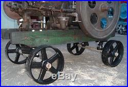 Antique Hit & Miss Gas Engine Cast Iron Cart Truck Parts Set Five Spoke Wheels