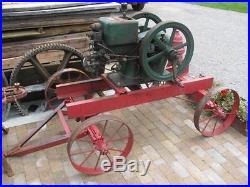 Antique Hit & Miss McCormick Deering Hit & Miss 3 HP Gas Engine w Cart & Crank