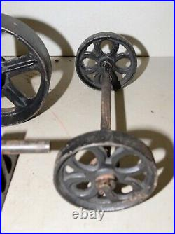 Antique Hit & miss engine cart front & back wheels collectible cast iron lot
