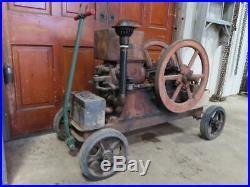 Antique Sparta Economy 2 HP Hit & Miss Gas Engine & Cart Good Compression