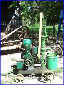 Baker Monitor VJ Pump Jack Hit Miss Gas Engine w Love Well Water Pump on Trucks