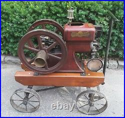 ECONOMY 1 3/4 H. P. HIT and MISS ENGINE with CART. BUILT 1927