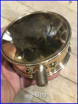 Early Antique Bronze Steam Gauge Brass Punk Engine Hit Miss Pressure Bevel Glass