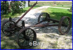 Gear Running Wagon Antique Steel Wheels Hit Miss Cart McCormick Deering Old Good