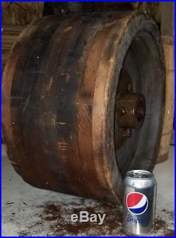 HUGE! FLAT BELT PULLEY WHEEL hit & miss steam engine industrial steampunk wood