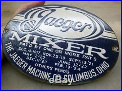 JEAGER PORCELAIN SIGN Old Gas Hit and Miss Engine CEMENT MIXER