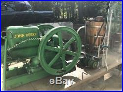 John Deere Hit & Miss antique engine with twin Ice Cream Churns on a wagon