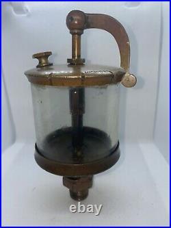 Michigan Lubricator Co. #X12 Brass Cylinder SWING TOP Oiler Hit Miss Gas Engine