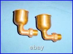 NOS Hit Miss Gas Steam Engine 90degree Brass Oil Cups Lunkenheimer