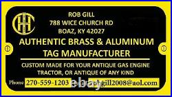 NOVO Brass Data Plate Tag Antique Gas Engine Hit Miss
