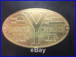 New Fairbanks & Morse Y Engine brass data tag Antique Hit And Miss Engine