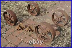 Nice Vintage Aerco 4 Spoke Cast Iron Wheel Set For Gas Engine Hit Miss Truck
