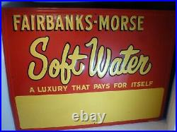 Old Fairbanks Morse Soft Water Advertising Sign Hit Miss Engine Pump Scarce Wow