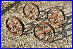 Original 6 Spoke Tall Cast Wheels Hit Miss Gas Engine Steam Industrial Cart