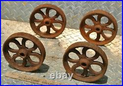 Original Small Heavy Duty Cast Wheels Hit Miss Gas Engine Steam Industrial Cart