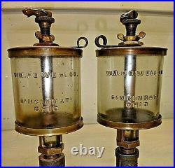 PAIR of NO. 5 POWELL SIGNAL EMBOSSED GLASS OILERS Hit and Miss Gas Engine