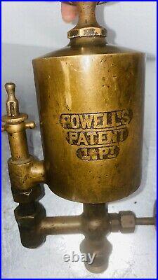 POWELLS 1 Pint Brass OILER Hit Miss Steam Gas Engine Antique Powell 3/4