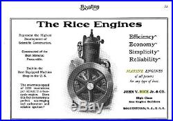 Rare 1907 Rice Inboard Marine Engine Motor Hit And Miss Wooden Boat