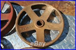 Rare John Deere Cast Iron Wheels Hit Miss Gas Engine Steam Punk Industrial Cart