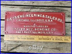 Rare Original Cast Iron Stover Mfg. & Engine Co. (building Sign)