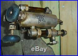 Vintage Brass, HIT MISS, Steam ENGINE OILER, POWELL TROJAN, 1/2 PINT