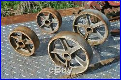 Vintage Heavy Spoked Cast Wheels Hit Miss Gas Engine Steam Industrial Cart