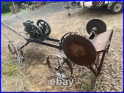 Vintage Hit And Miss Engine With Saw And Rolling Cart
